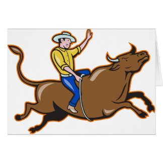 Cowboy Riding A Bull Greeting Cards