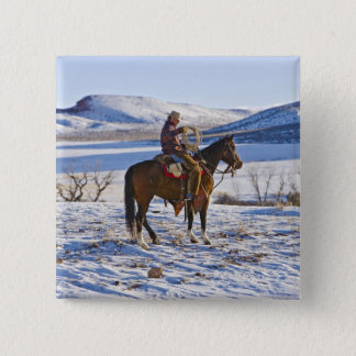 Cowboy riding a horse on the range on The Pinback Button