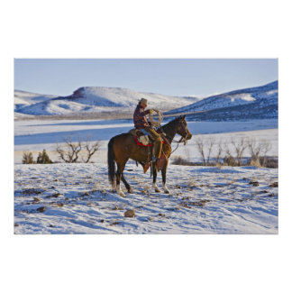 Cowboy riding a horse on the range on The Print