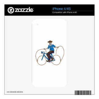Cowboy Riding Bike With Lasso Wheels Skin For The iPhone 4S