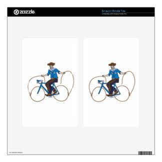 Cowboy Riding Bike With Lasso Wheels Skins For Kindle Fire