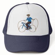 Cowboy Riding Bike With Lasso Wheels Trucker Hat