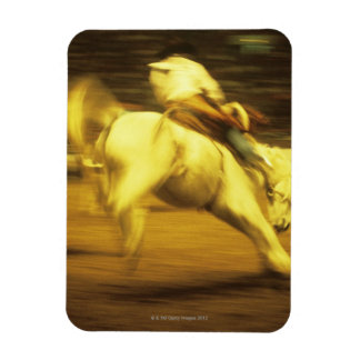 Cowboy riding bucking bronco in rodeo, side view magnet