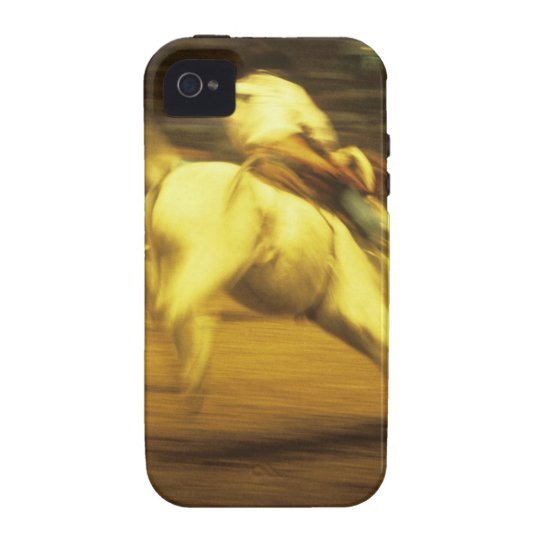 Cowboy riding bucking bronco in rodeo, side view vibe iPhone 4 case