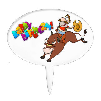 Cowboy-Riding-Bull-In-Rodeo-Birthday Cake Topper