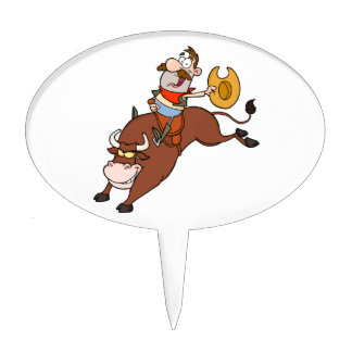 Cowboy-Riding-Bull-In-Rodeo-Cake Topper