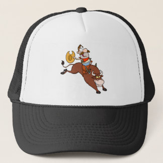 Cowboy-Riding-Bull-In-Rodeo Trucker Hat