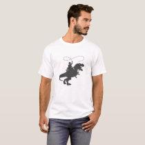 Cowboy riding dinosaur in the prehistoric era T-Shirt