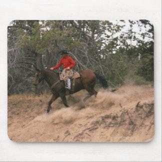 Cowboy riding downhill mouse pad