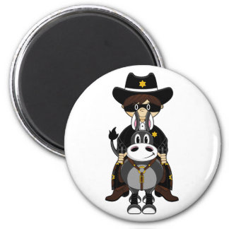 Cowboy Riding Horse 2 Inch Round Magnet