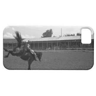Cowboy riding horse in rodeo, (B&W) iPhone SE/5/5s Case
