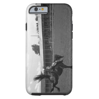 Cowboy riding horse in rodeo, (B&W) Tough iPhone 6 Case