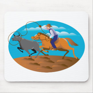 Cowboy Riding Horse Lasso Bull Cow Mouse Pad
