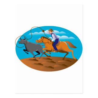 Cowboy Riding Horse Lasso Bull Cow Postcard