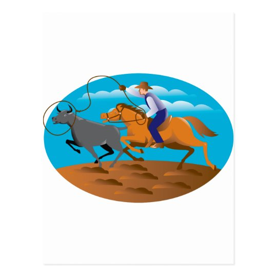Cowboy Riding Horse Lasso Bull Cow Postcard