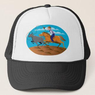 Cowboy Riding Horse Lasso Bull Cow Trucker Hat