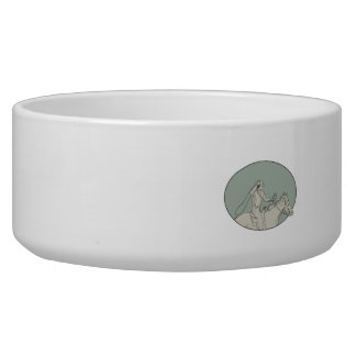 Cowboy Riding Horse Lasso Oval Drawing Bowl
