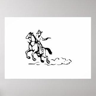Cowboy Riding Horse Print