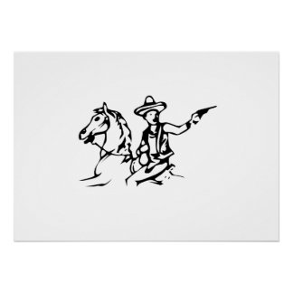 Cowboy Riding Horse Posters