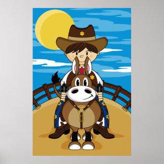 Cowboy Riding Horse Poster
