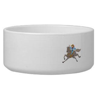 Cowboy Riding Horse Waving Cartoon Bowl