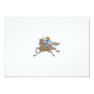 Cowboy Riding Horse Waving Cartoon Card