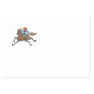 Cowboy Riding Horse Waving Cartoon Large Business Card