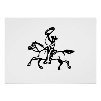 Cowboy Riding Horse with Lasso Print