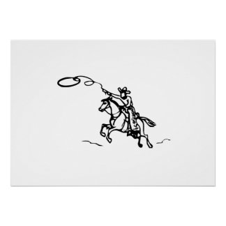 Cowboy Riding Horse with Lasso Posters