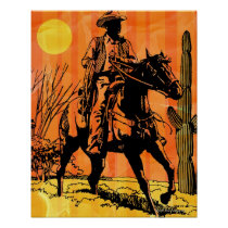 Cowboy riding horseback in desert poster
