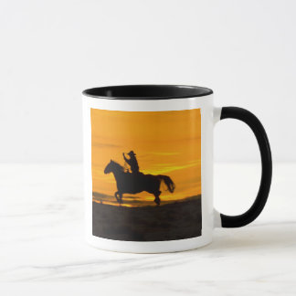 Cowboy riding in the Sunset with lariat Rope 2 Mug