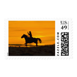 Cowboy riding in the Sunset with lariat Rope 2 Stamp