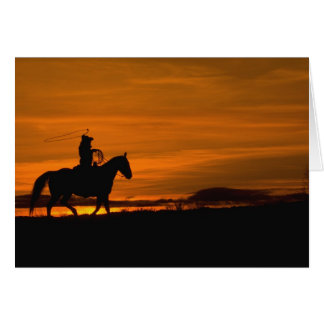 Cowboy riding in the Sunset with lariat Rope Card