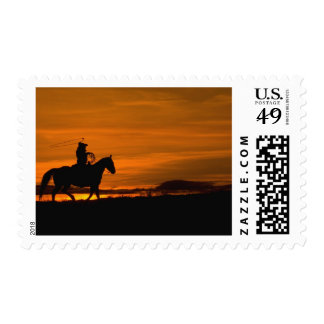 Cowboy riding in the Sunset with lariat Rope Postage Stamp