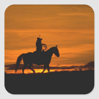 Cowboy riding in the Sunset with lariat Rope Sticker