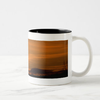 Cowboy riding in the Sunset with lariat Rope Two-Tone Coffee Mug