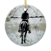 Cowboy Riding Into Sunset Western Horse Ceramic Ornament
