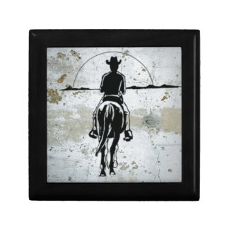 Cowboy Riding Into Sunset Western Horse Gift Box