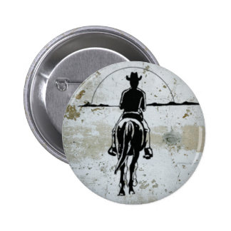 Cowboy Riding Into Sunset Western Horse Pinback Button