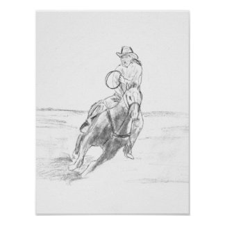Cowboy Riding Poster