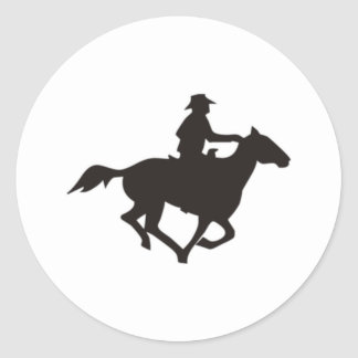 Cowboy Riding Round Stickers