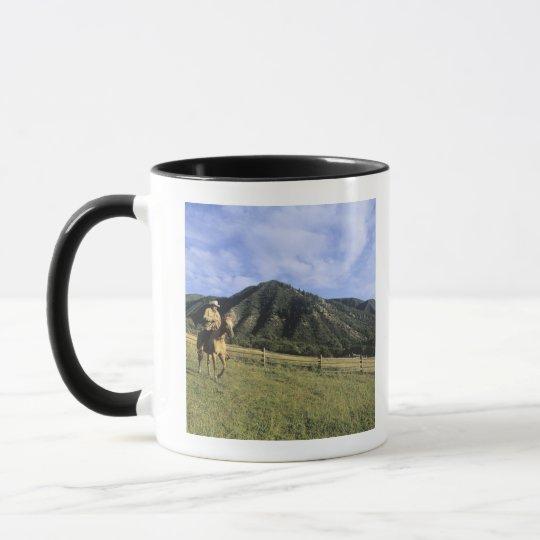 Cowboy riding through field mug
