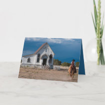 Cowboy Riding To Church Christmas Card