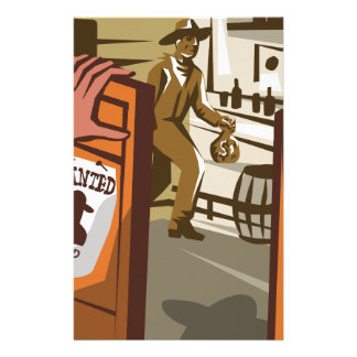 Cowboy Robber Stealing Saloon Poster Stationery