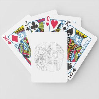 Cowboy Robbing Saloon Drawing Bicycle Playing Cards