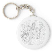 Cowboy Robbing Saloon Drawing Keychain