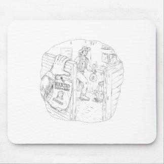 Cowboy Robbing Saloon Drawing Mouse Pad