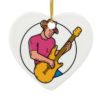 Cowboy Rocker Guitarist Mono Line Art Ceramic Ornament