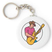 Cowboy Rocker Guitarist Mono Line Art Keychain