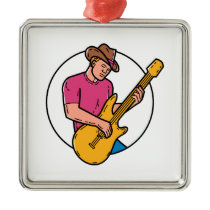 Cowboy Rocker Guitarist Mono Line Art Metal Ornament